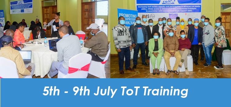 5th – 9th July ToT Training